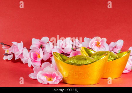 Chinese New Year decorations on red background (English translation for foreign text means blessing) - Stock Photo