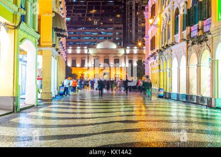 Night view of Leal Senado Building in Macau - Stock Photo
