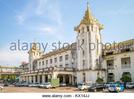 Yangon Central Railway Station in Yangon, Myanmar - Stock Photo