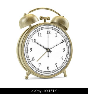 Old style alarm clock isolated on white. 3d rendering - Stock Photo