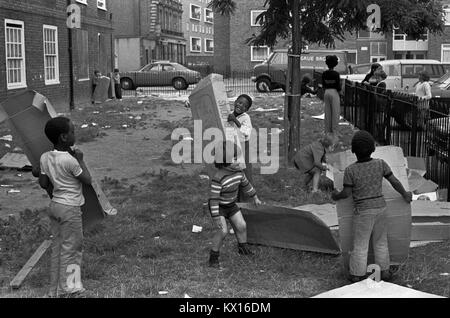 Preteen group of boys playing  together on their council estate South London 1970s Britain  70s UK HOMER SYKES - Stock Photo