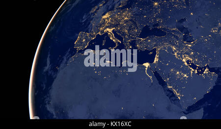 Middle east, west asia, east europe lights during night as it looks like from space. Elements of this image are - Stock Photo
