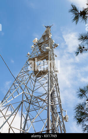 Communications Tower.  A communications tower is pictured in southern Turkey. - Stock Photo