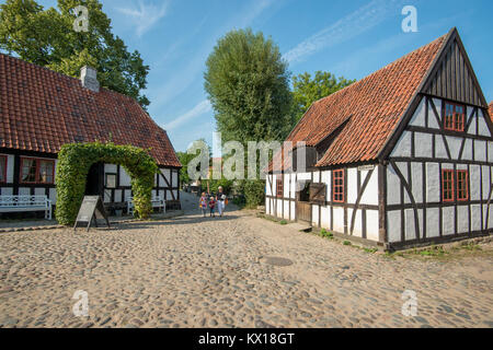 The Old Town in Aarhus is popular among tourists as it displays traditional Danish architecture from 16th century - Stock Photo