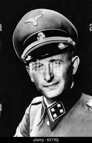 German Nazi SS-Obersturmbannführer Adolf Eichmann pictured circa 1942. One of the major organizers of the Holocaust, - Stock Photo