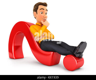 3d man lying on question mark, illustration with isolated white background - Stock Photo