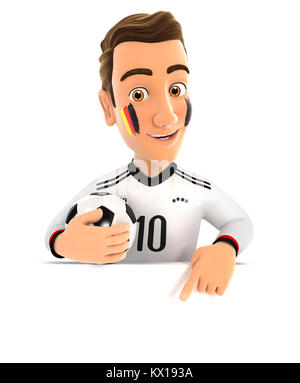 3d german soccer fan pointing to empty wall, illustration with isolated white background - Stock Photo