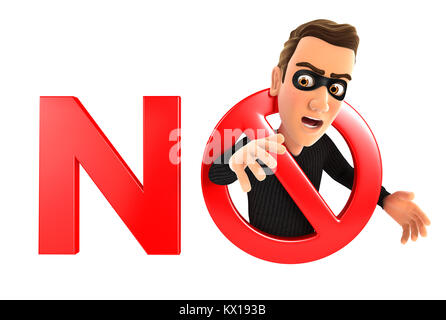 3d no thief concept, illustration with isolated white background - Stock Photo