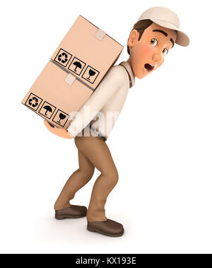 3d delivery man heavy parcels, illustration with isolated white background - Stock Photo