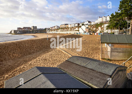 The beach at Broadstairs in Kent on a winter morning - Stock Photo