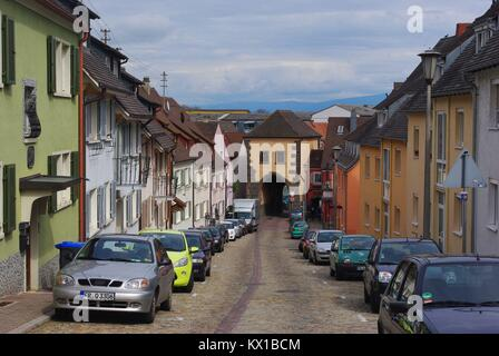 The medieval town of Breisach am Rhein (Germany) at the border to France: old city gate - Stock Photo