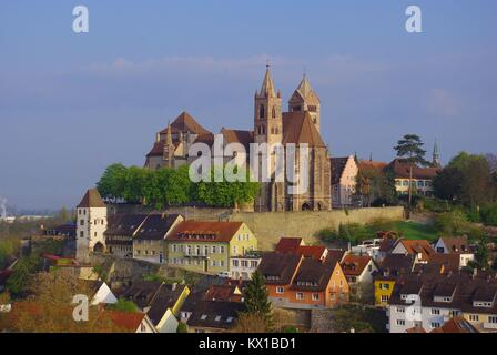 The medieval town of Breisach am Rhein (Germany) at the border to France: A view to the church - Stock Photo