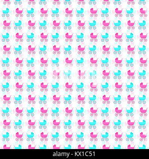 Nice seamless pattern with retro baby carriages - Stock Photo