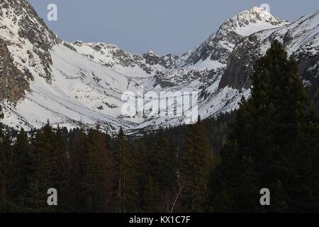 scenery of snow covered High Tatras mountains in the night in Slovakia - Stock Photo