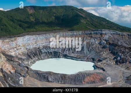 Caldera with crater lake, Poas Volcano, National Park Poas Volcano, Costa Rica - Stock Photo