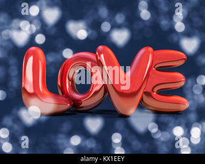 Red inflatable word love over background with reflection. 3D rendering - Stock Photo