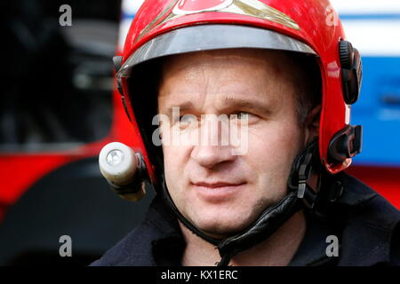 Belarus, Gomel, 04/06/2017, extinguishing forest fire.Belarus,Fire man.Portrait of a man who works as a fireman - Stock Photo