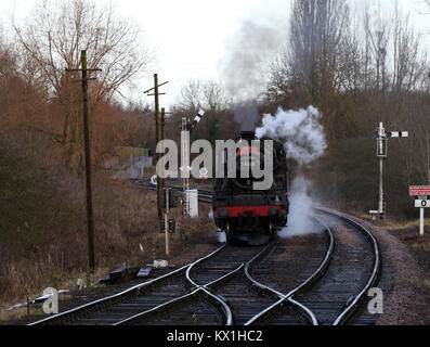 Peterborough, Cambridgeshire, on January 6, 2018. Steam locomotive train 78018 prepares for it's last day with the - Stock Photo