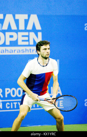 Pune, India. 6th January 2018. Gilles Simon of France in action in the finals of the singles competition at the - Stock Photo