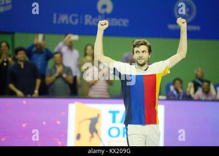 Pune, India. 6th January 2018. Gilles Simon of France gestures after winnning the finals of the singles competition - Stock Photo