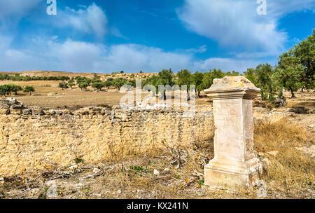 View of Dougga, an ancient Roman town in Tunisia - Stock Photo