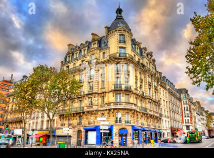 Typical buildings in Paris, France - Stock Photo