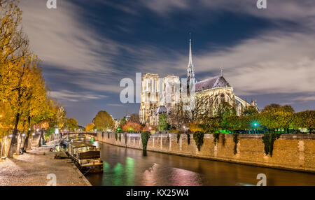 View of Notre-Dame de Paris from the banks of the Seine at night - Stock Photo