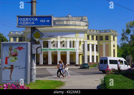 Tiraspol, the capital of Pridnestrovye (Transnistria), officially part of Republic of Moldova: People in front of - Stock Photo