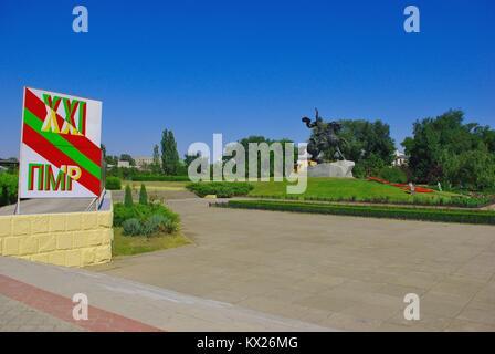 Tiraspol, the capital of Pridnestrovye (Transnistria), officially part of Republic of Moldova: The statue to Suvorov - Stock Photo