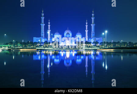 Sheikh Zayed Grand Mosque in Abu Dhabi. It is the largest mosque in UAE and the eighth largest mosque in the world. - Stock Photo