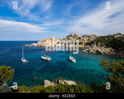 Boats anchoring at Capo Testa, Sardinia - Stock Photo