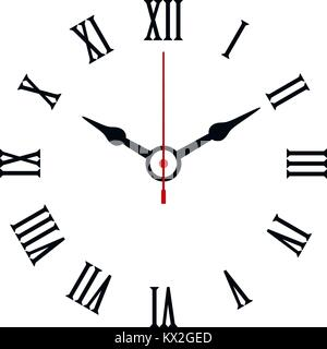 Roman numerals shaped minimal clock icon on white background. - Stock Photo