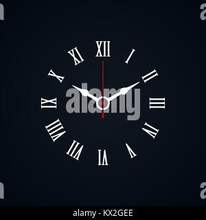 Roman numerals shaped minimal clock icon on black background. - Stock Photo