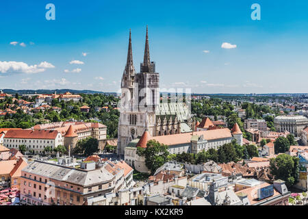 The Cathedral of Zagreb is one of the highest buildings in Croatia. The steeples are 105 metres high, Zagreb, Croatia, - Stock Photo