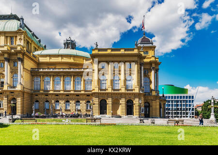 The building of the Croatian National Theater Zagreb is located on square of the Republic of Croatia in the city - Stock Photo