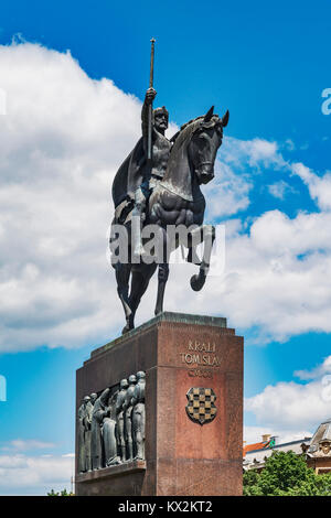 The equestrian statue of Tomislav is located in front of the central railway station, Zagreb, Croatia, Europe - Stock Photo