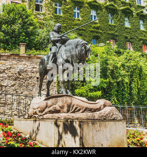 The statue of Saint George (Juraj) with the slain Dragon is located in the upper town (Gornji Grad), near the stone - Stock Photo