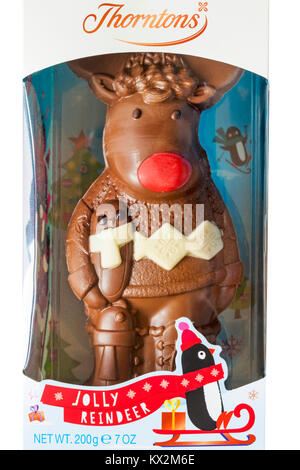 Thorntons Jolly Reindeer chocolate in packaging - ideal Christmas gift present - Stock Photo