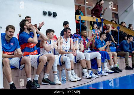 December 23, 2017: Steaua Bucharest players during the LNBM - Men's National Basketball League game between CSM - Stock Photo