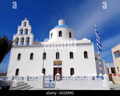 Church of Panagia of Platsani at Caldera Square, Oia Village of Santorini Island, Greece - Stock Photo