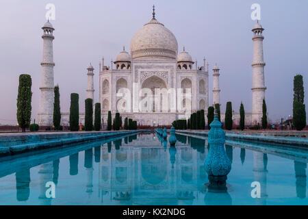 Taj Mahal in the evening light, Agra, Uttar Pradesh, India - Stock Photo