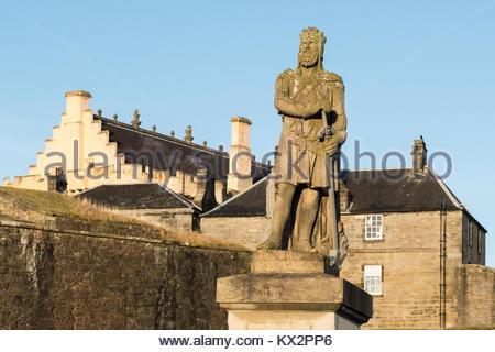 Robert the Bruce Statue, Stirling Castle, Stirling, Scotland, UK - Stock Photo