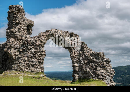 Dinas Bran castle remains on hillside with views to Llangollen - Stock Photo