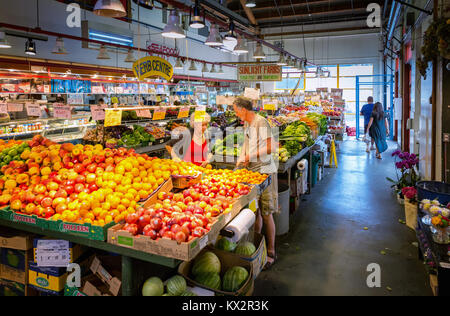 Fruits and vegetables for sale at Granville Island Public Market, Vancouver, BC, Canada - Stock Photo