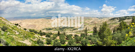 View of the promised land as seen from Mount Nebo in Jordan - Stock Photo