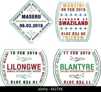 Set of stylised passport stamps for major airports of Lesotho, Swaziland and Malawi in vector format. - Stock Photo