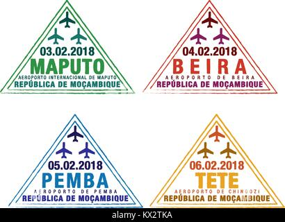 Set of stylised passport stamps for major airports of Mozambique in vector format. - Stock Photo