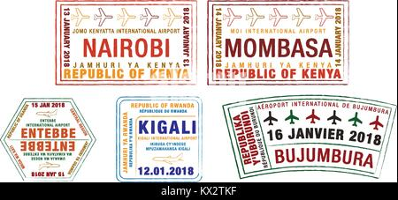 Set of stylised passport stamps for major airports of Kenya, Uganda, Rwanda and Burundi  in vector format. - Stock Photo
