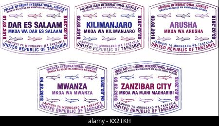 Set of stylised passport stamps for major airports of Tanzania in vector format. - Stock Photo