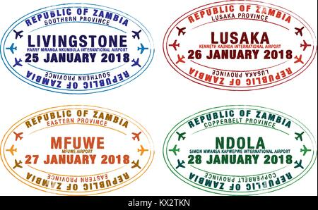 Set of stylised passport stamps for major airports of Zambia in vector format. - Stock Photo